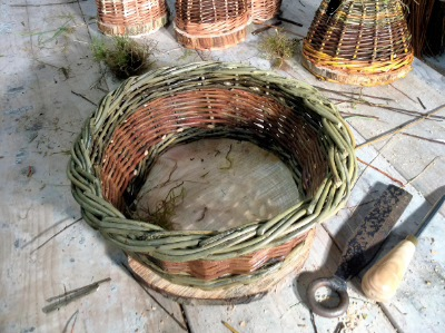 basket made with willow grown on the croft